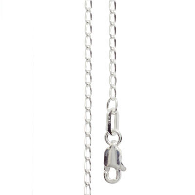 Silver Open Curb Link Necklace - 45 cm