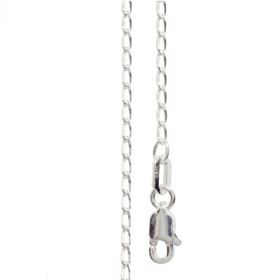 Silver Open Curb Link Necklace - 55 cm