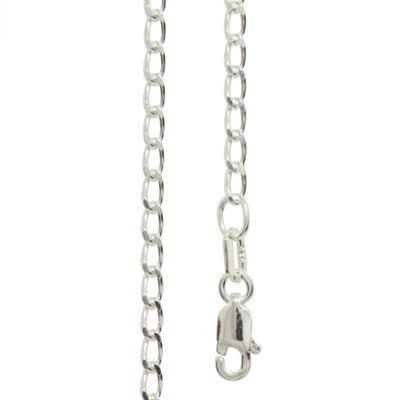 Silver Curb link Necklace - 40 cm