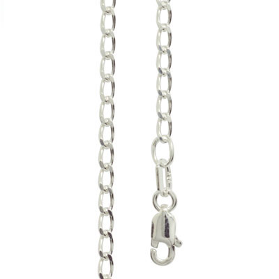 Silver Curb link Necklace - 45 cm