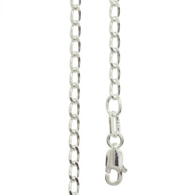 Silver Curb link Necklace - 55 cm