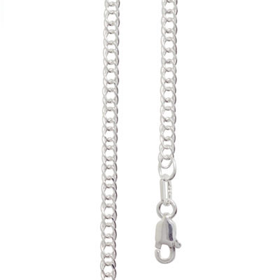 Double Curb Link Silver Necklace - 40 cm