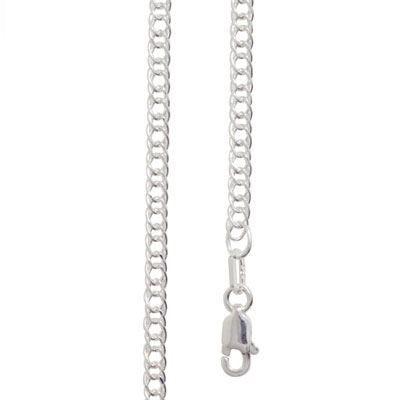 Double Curb Link Silver Necklace - 45 cm