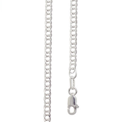 Double Curb Link Silver Necklace - 50 cm