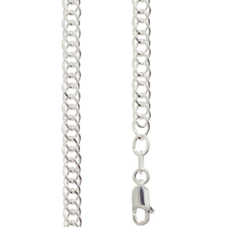 Silver Double Curb Link Necklace - 40 cm
