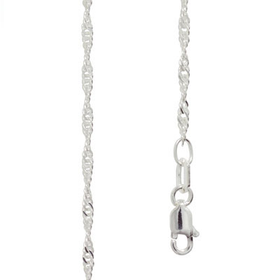 Light Silver Singapore Link Necklace - 50 cm