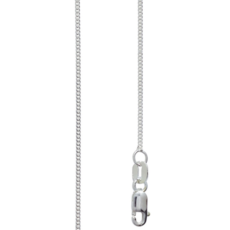 Fine Silver Curb Link Necklace - 45 cm