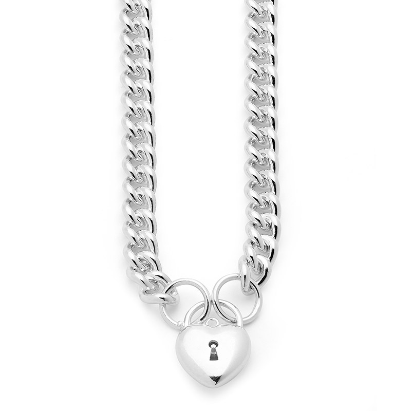 Heavy Sterling Silver Padlock Necklace