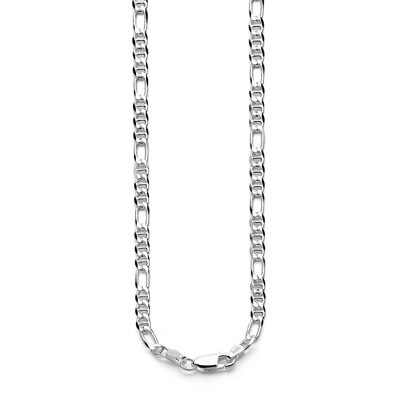 Light Silver Figaro Link Necklace - 45 cm