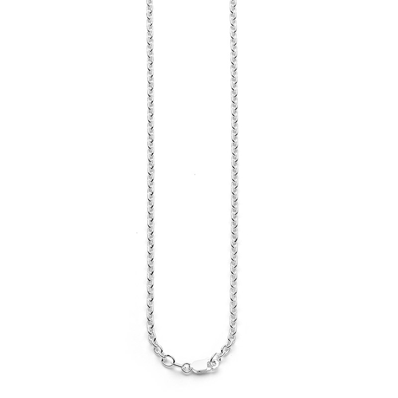 Sterling Silver Trace Link Chain - 80 cm