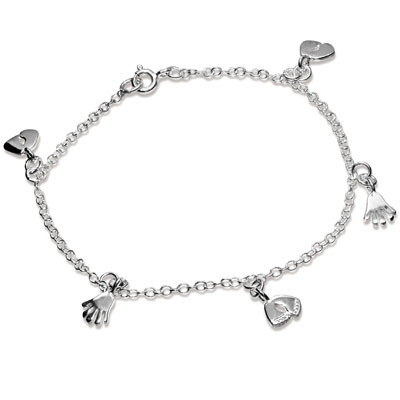 Sterling Silver Anklet - Mixed Charms