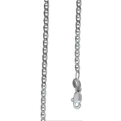 Silver Anchor Chain Link Necklace 55 cm.