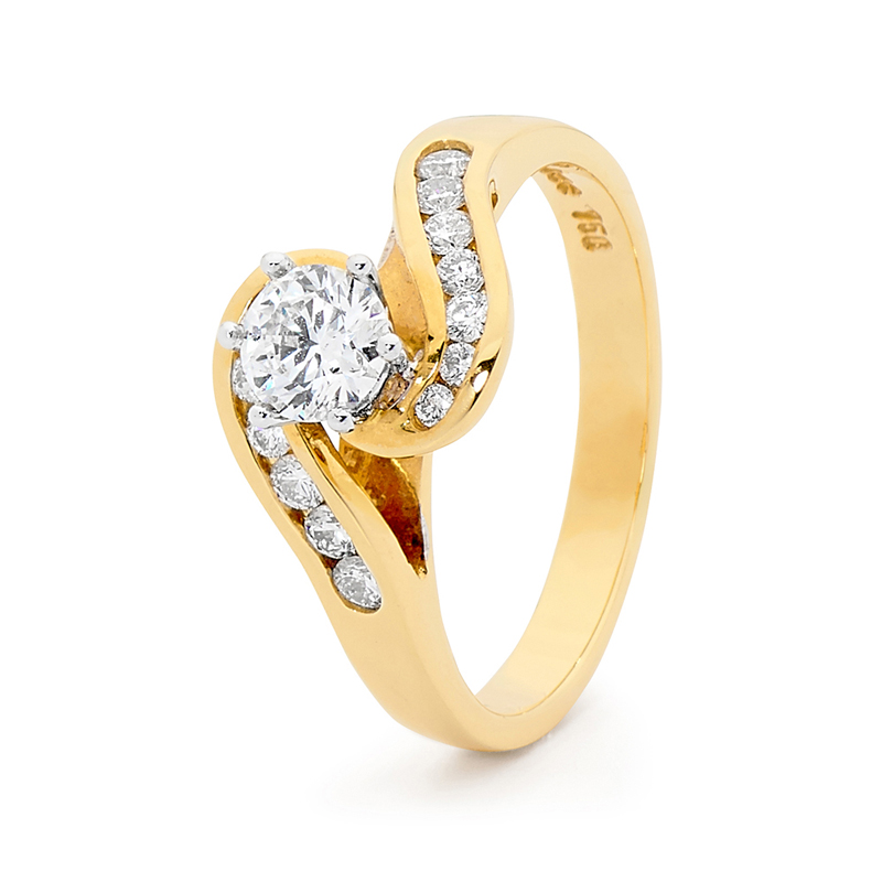Gold Engagement Ring - 0.8 carat - Certified Diamonds