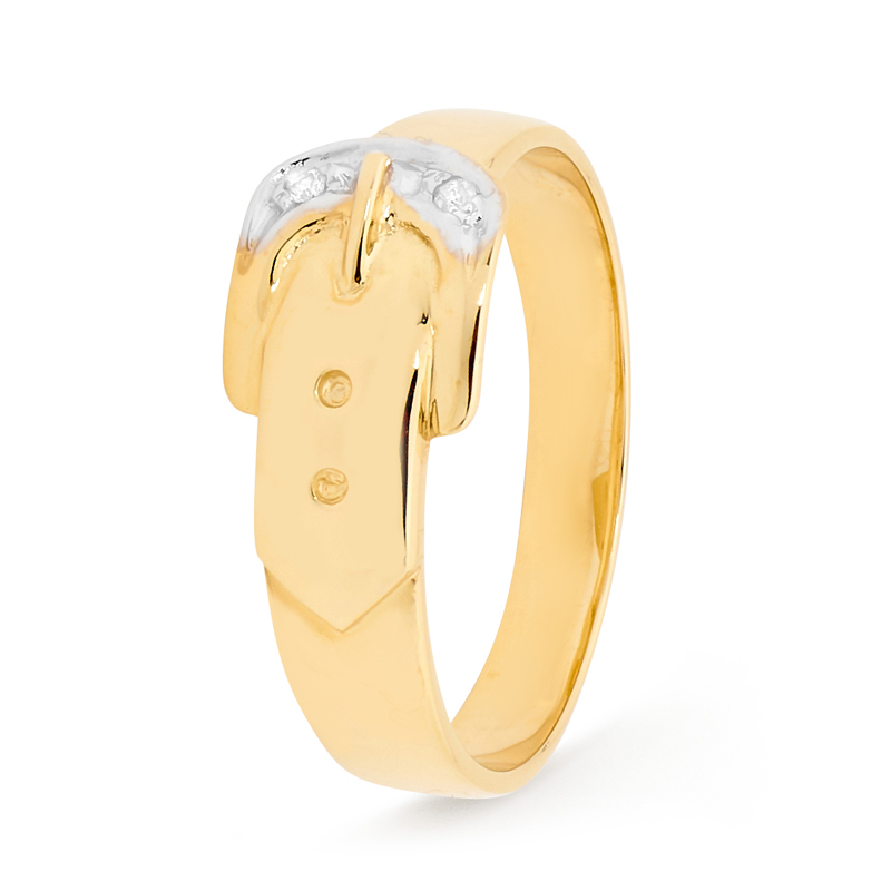 Belt Buckle Ring with Diamonds
