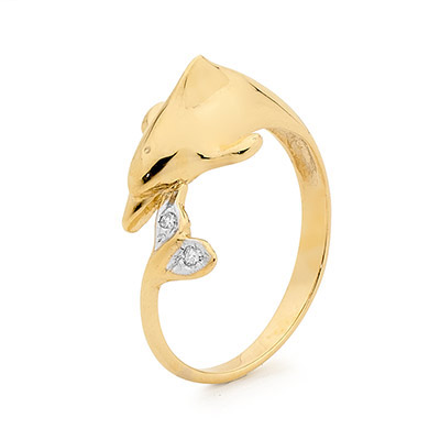 Playful Dolphin Ring with Diamonds