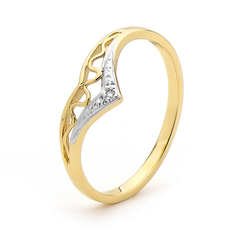 Diamond set Gold Wishbone Ring