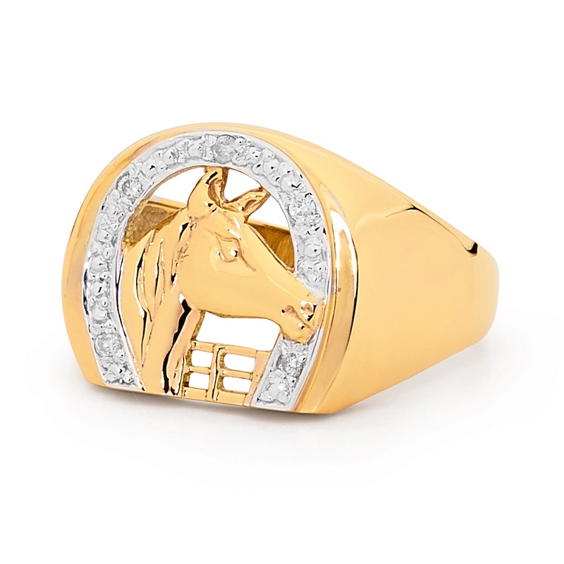 Solid men's horse shoe ring