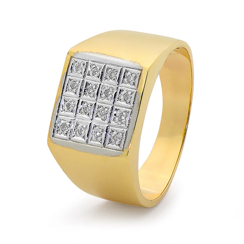 Gold Men's Ring - 16 Diamonds
