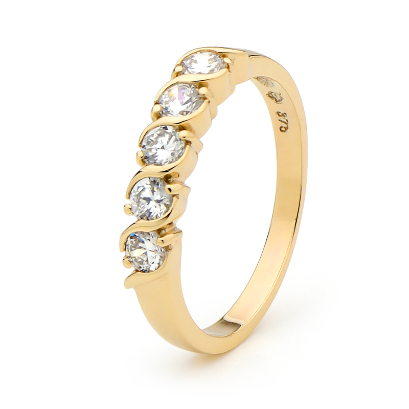 Cubic Zirconia Gold Eternity Ring