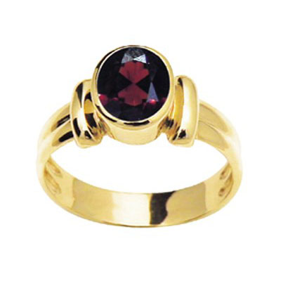 Classic French Style Bezel Ring with Garnet