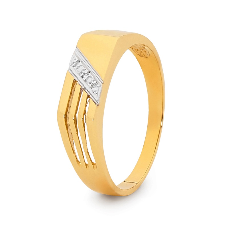 Men's Gold Ring with Diamonds