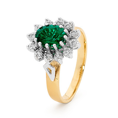 Created Emerald and Diamond princess ring