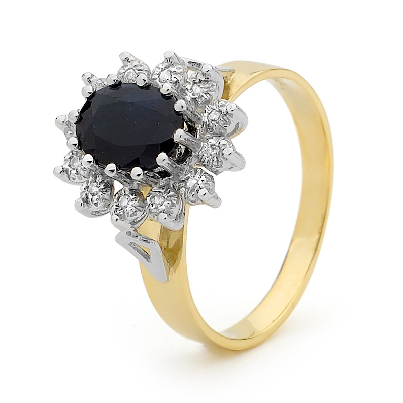 Kate Middleton Style Sapphire Ring with Diamonds