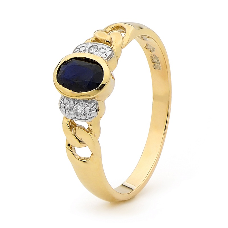 Sapphire and Diamond Chain Link Ring