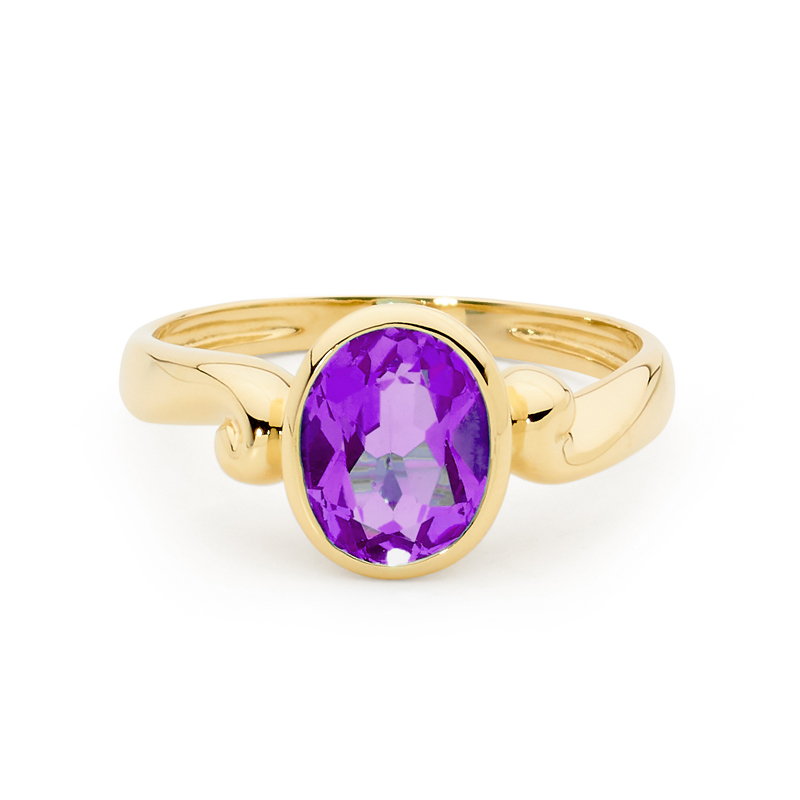 Amethyst Set in Solid Gold Ring