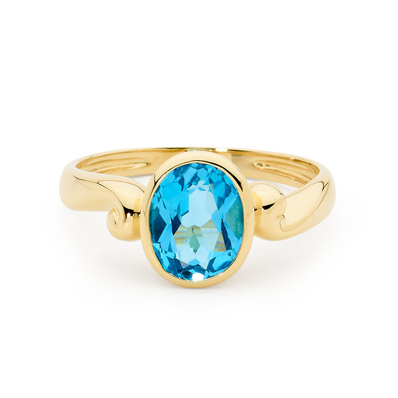 Stunning Blue Topaz Set in Gold Ring