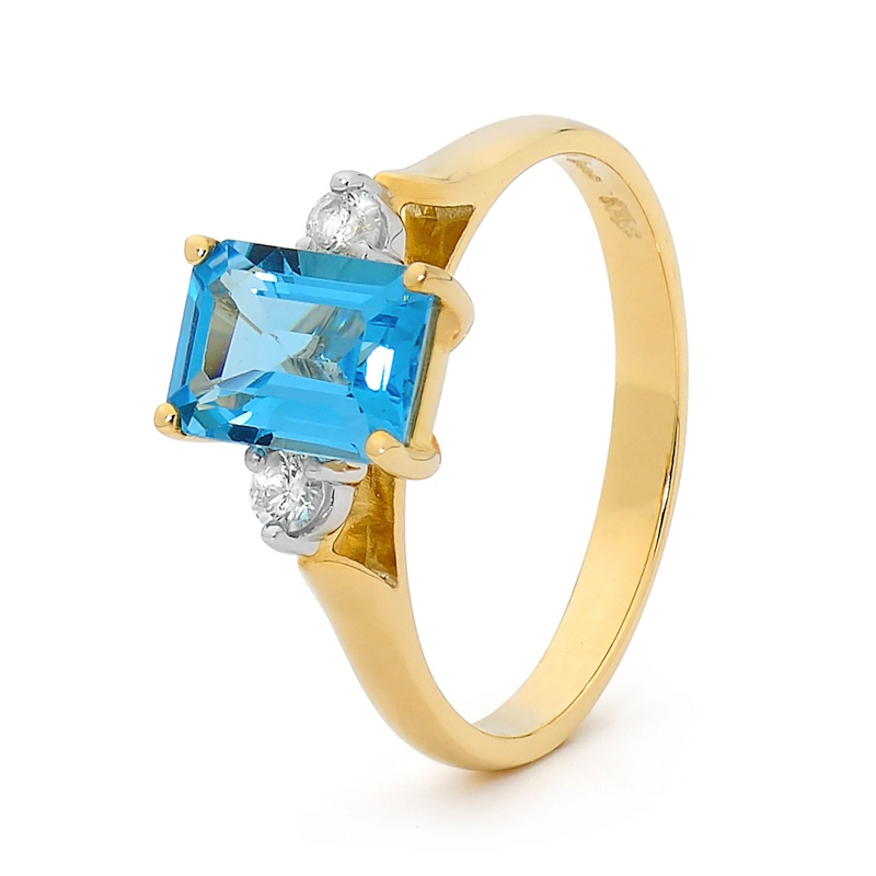 Crystal Blue Topaz Ring with Diamonds