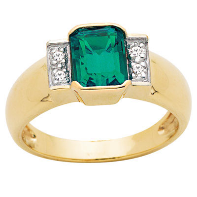 Octagonal created Emerald and Diamond ring