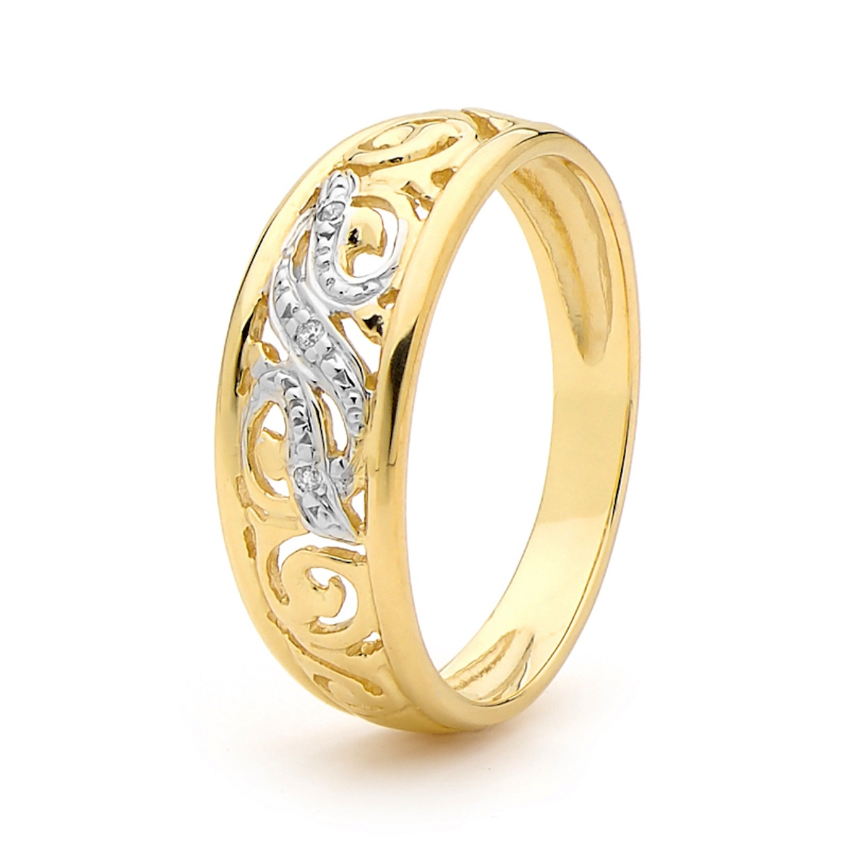 Love Diamond Ring with Celtic Carving