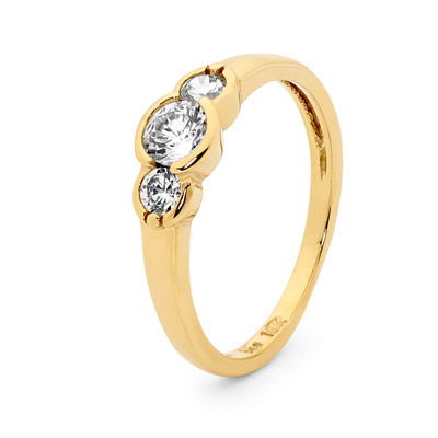 Cubic Zirconia Ring - Three Stone Eternity