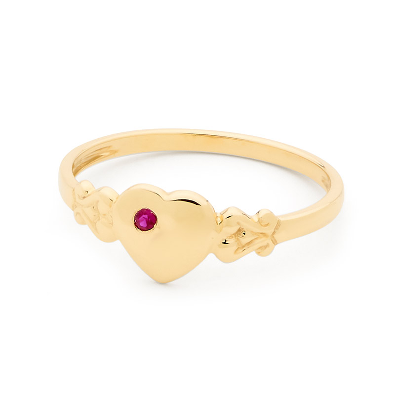 Gold Heart Signet Ring with Ruby - Size N