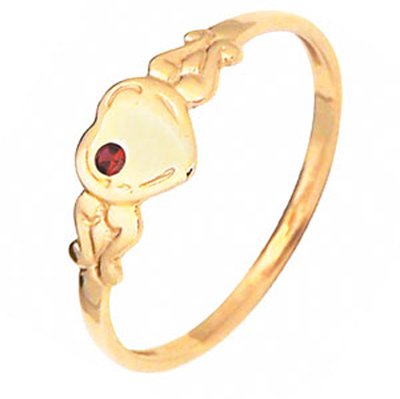 Gold Heart Signet Ring with Ruby - Size O