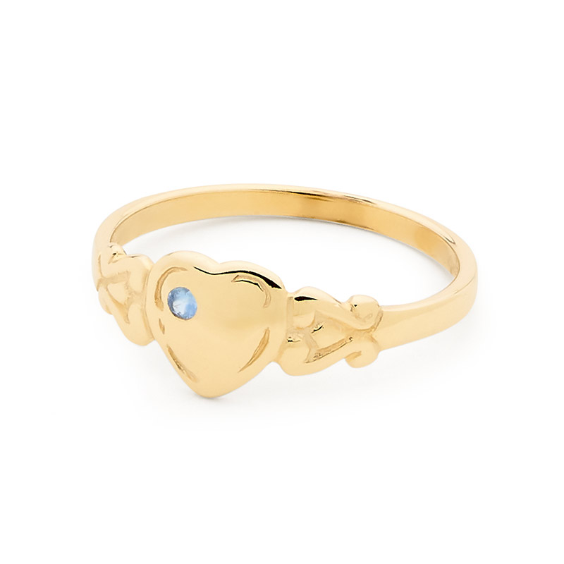 Gold Heart Signet Ring with Sapphire - Size I