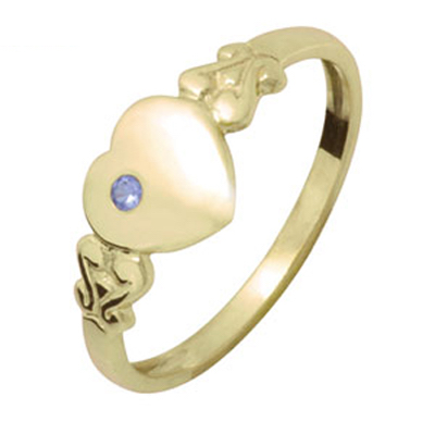 Gold Heart Signet Ring with Sapphire - Size J