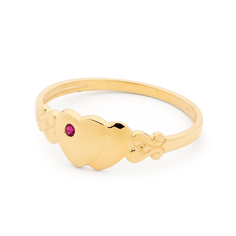 Childs Signet Ring Gold with Ruby - Size N