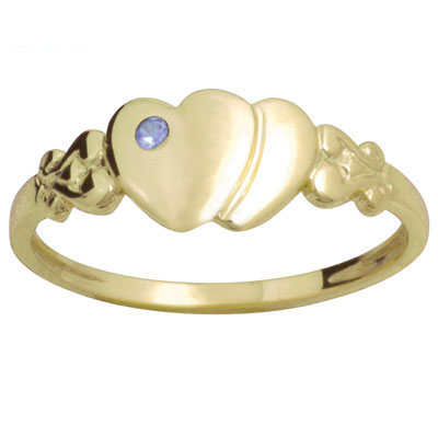 Childs Signet Ring Gold with Sapphire - Size J