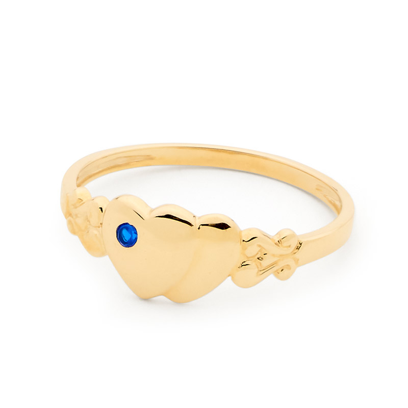 Childs Signet Ring Gold with Sapphire - Size L