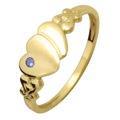 Heart Signet Ring with Created Sapphire