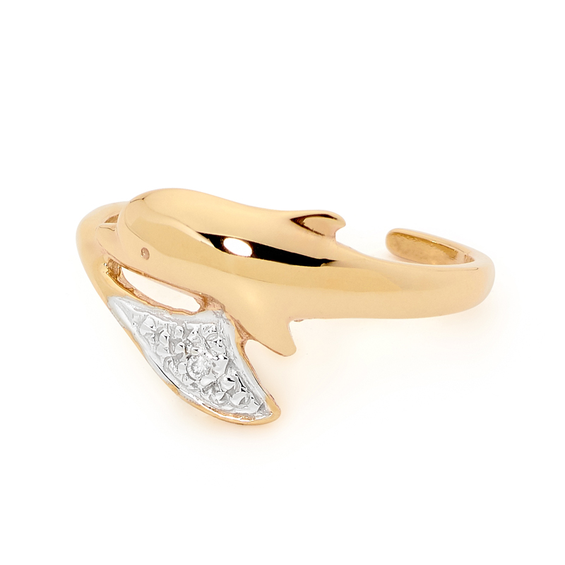 Cute Dolphin Toe ring with Diamond