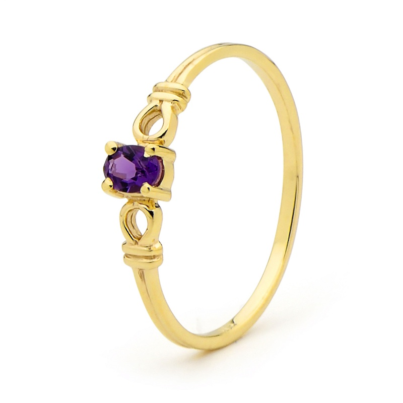 "Gold Ring with Amethyst ""Cute"""