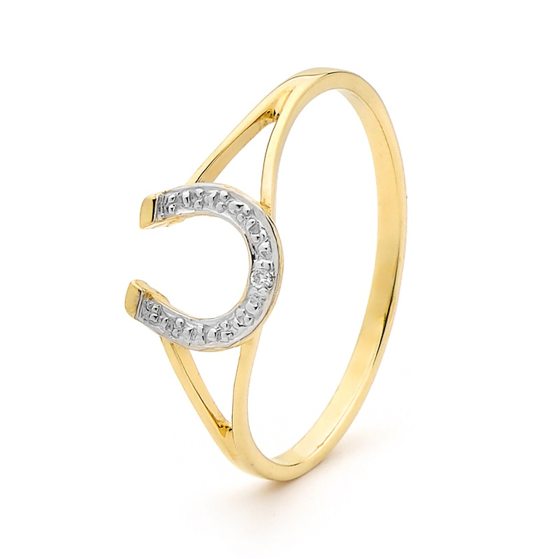 Lucky Horseshoe Ring with Diamond
