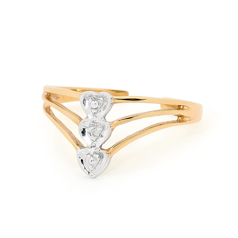 Three hearts Toe ring with Diamonds