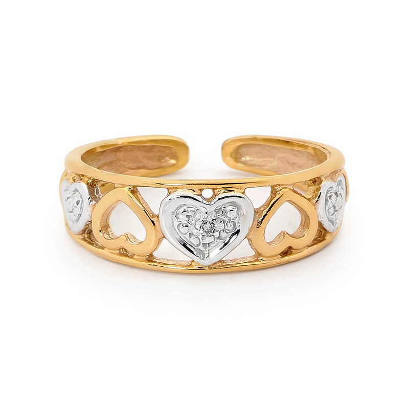 Diamond set heart toe ring