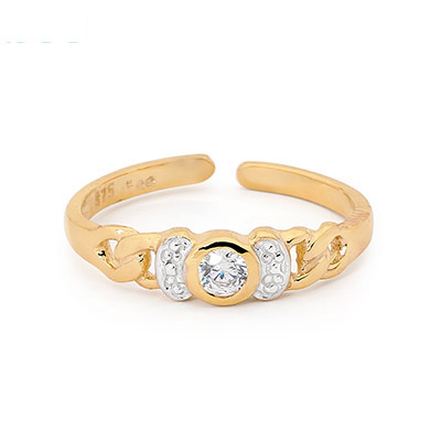 Gold toe ring with Cubic Zirconia