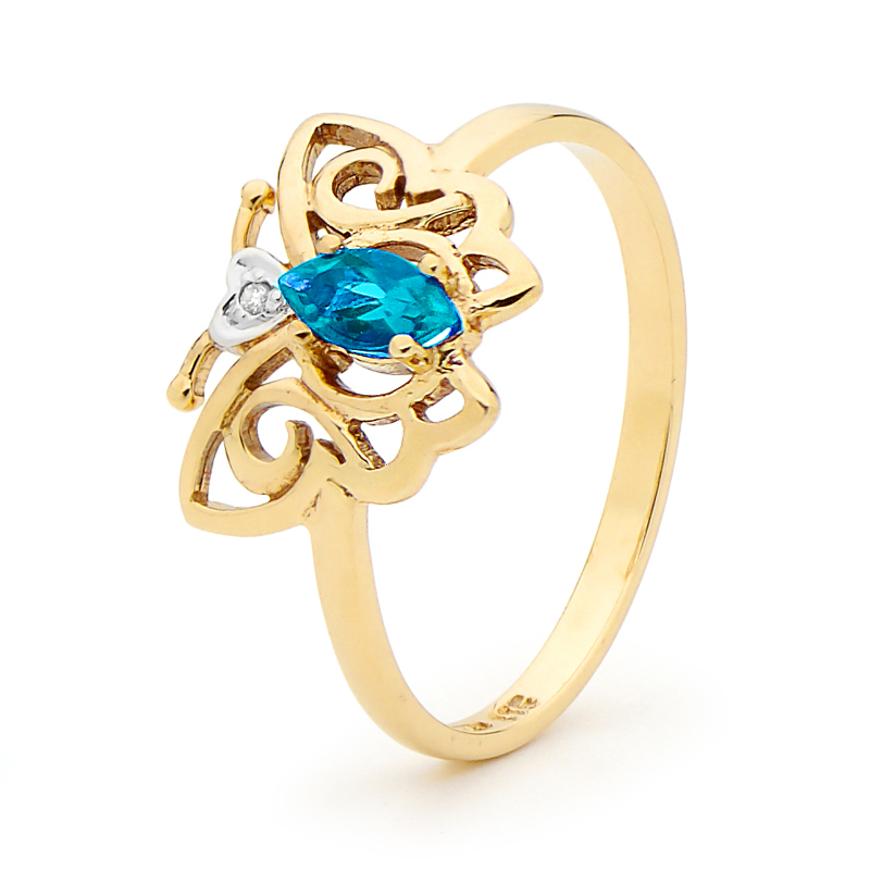 "Blue Topaz and Diamond Ring ""Butterfly"""