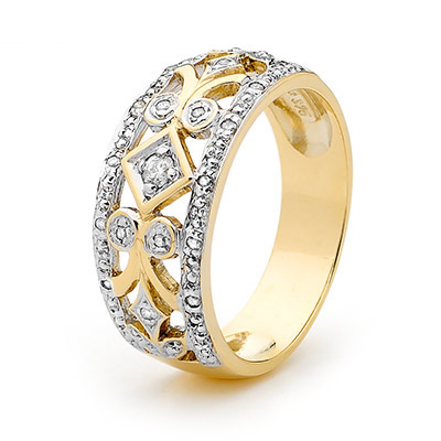 Right Hand Ring with Diamonds - Size U